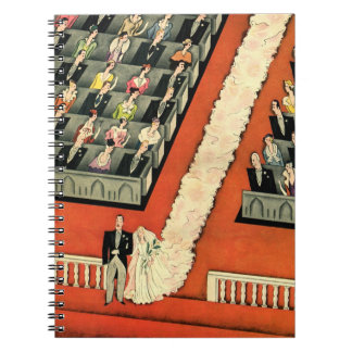 Vintage Wedding, Art Deco Bride and Groom Newlywed Notebook