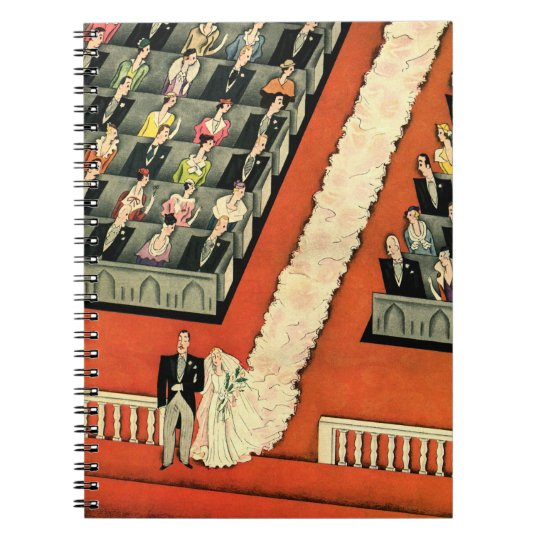 Vintage Wedding, Art Deco Bride and Groom Newlywed Notebook