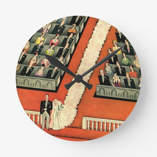 Vintage Wedding, Art Deco Bride and Groom Newlywed Round Clock