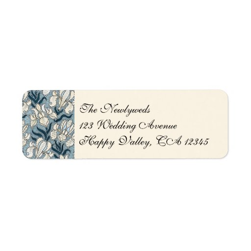 Vintage Wedding, Art Nouveau Iris Flowers Floral Custom Return Address Label