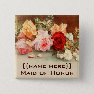 Vintage Wedding Badge Antique Roses Flowers Floral Pinback Button