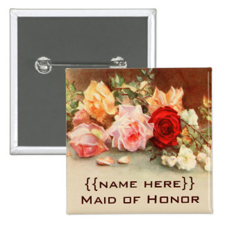 Vintage Wedding Badge Antique Roses Flowers Floral Pinback Button