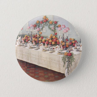 Vintage Wedding Banquet Table Pinback Button