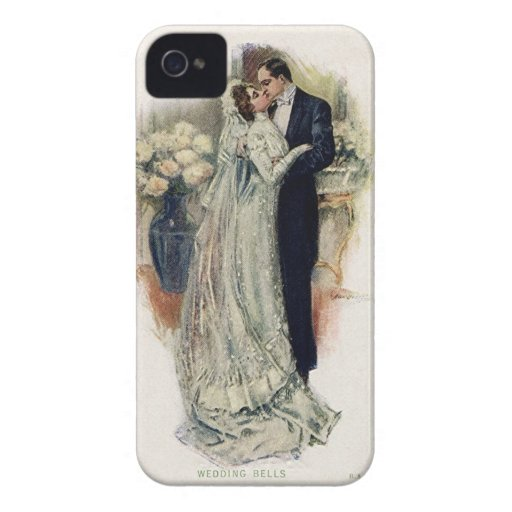 Vintage Wedding Bells Bride And Groom iPhone 4 Case-Mate Cases