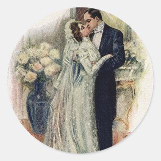 Vintage Wedding Bells Bride And Groom Classic Round Sticker