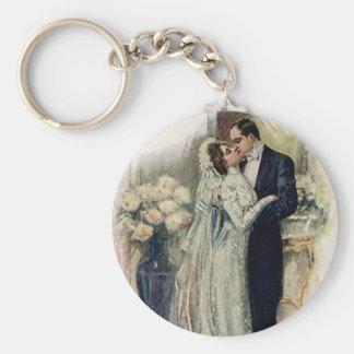 Vintage Wedding Bells Bride And Groom Keychain