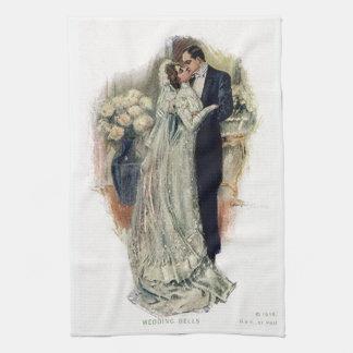 Vintage Wedding Bells Bride And Groom Kitchen Towel