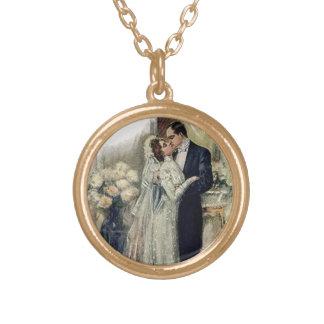 Vintage Wedding Bells Bride And Groom Round Pendant Necklace