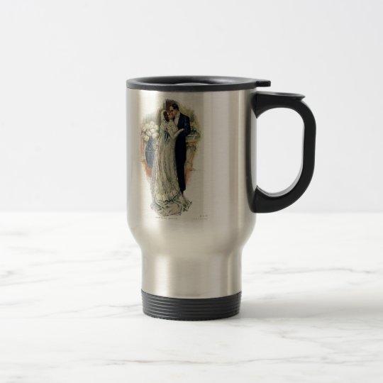 Vintage Wedding Bells Bride And Groom Travel Mug