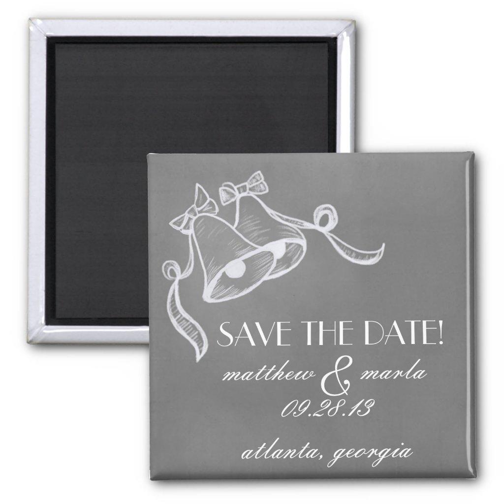 """Vintage Wedding Bells """"Save the Date"""" Magnets"""