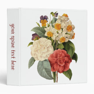 Vintage Wedding Bouquet, Blooming Flowers Vinyl Binders