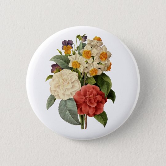 Vintage Wedding Bouquet, Blooming Flowers Button