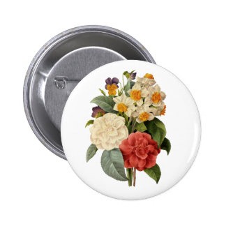 Vintage Wedding Bouquet, Blooming Flowers Pinback Buttons
