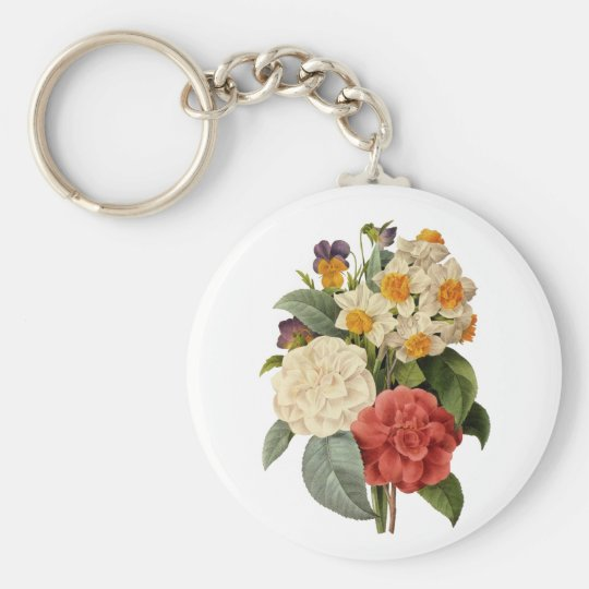 Vintage Wedding Bouquet, Blooming Flowers Keychain