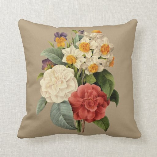 Vintage Wedding Bouquet, Blooming Flowers Throw Pillow