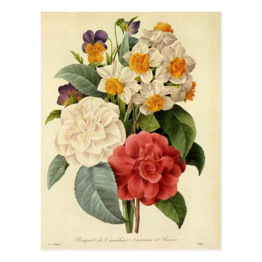 Vintage Wedding Bouquet, Blooming Flowers Postcard