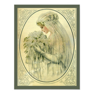 Vintage Wedding Bridal Portrait Invitation