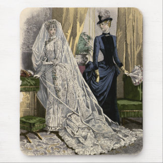 Vintage Wedding Bridal Portrait, Victorian Bride Mouse Pad