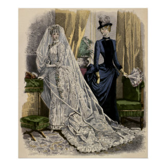 Vintage Wedding Bridal Portrait, Victorian Bride Poster
