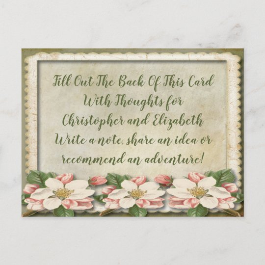 vintage wedding bridal shower advice well wishes invitation postcard