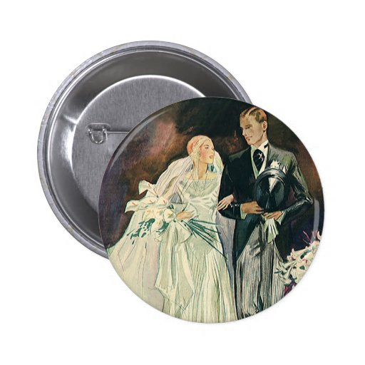 Vintage Wedding, Bride and Goom, Newlyweds Buttons