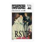 Vintage Wedding, Bride and Goom, Newlyweds RSVP Postage
