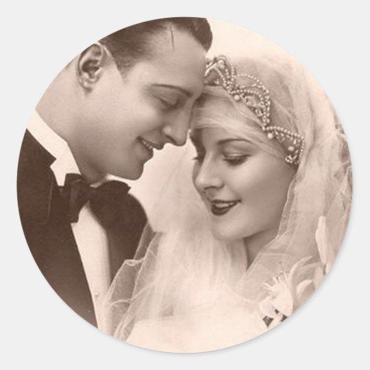 Vintage Wedding Bride and Groom Classic Round Sticker