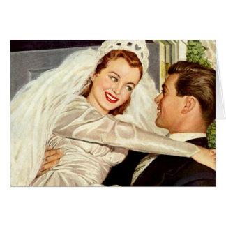Vintage Wedding Bride and Groom, Happy Newlyweds Card
