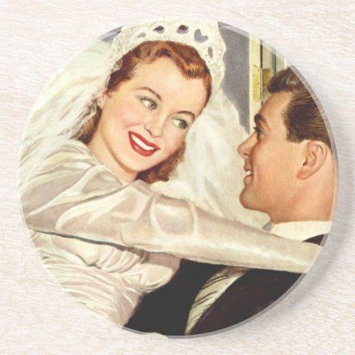 Vintage Wedding Bride and Groom, Happy Newlyweds Coasters