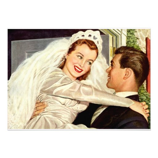Vintage wedding bride and groom, happy newlyweds announcement from