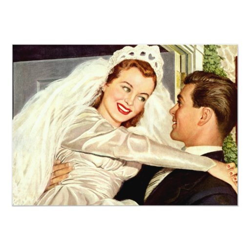 Vintage Wedding Bride and Groom, Happy Newlyweds 5x7 Paper Invitation Card