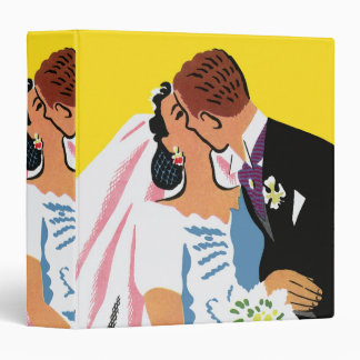 Vintage Wedding, Bride and Groom Newlyweds Kissing Binder