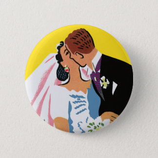 Vintage Wedding, Bride and Groom Newlyweds Kissing Button