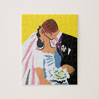 Vintage Wedding, Bride and Groom Newlyweds Kissing Jigsaw Puzzle