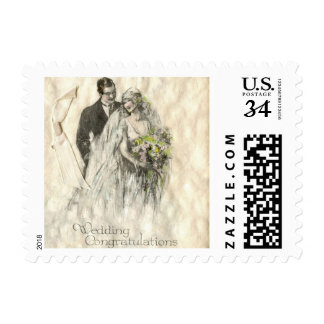 Vintage Wedding Bride and Groom Postage