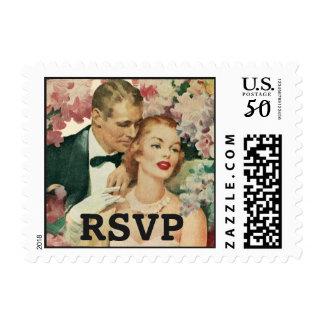 Vintage Wedding, Bride and Groom with Flowers RSVP Postage