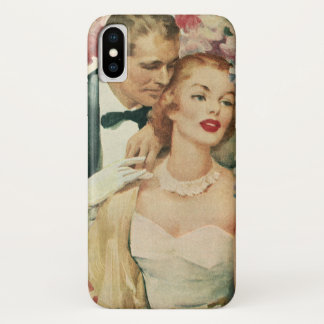 Vintage Wedding, Bride and Groom with Pink Flowers iPhone X Case
