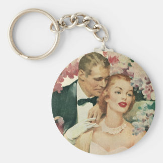 Vintage Wedding, Bride and Groom with Pink Flowers Keychain