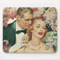 Vintage Wedding, Bride and Groom with Pink Flowers Mouse Pad