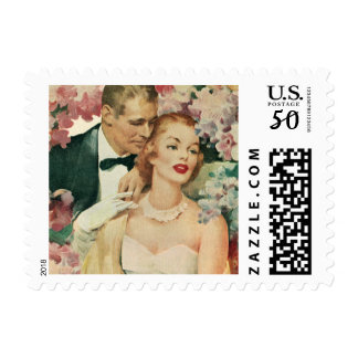 Vintage Wedding, Bride and Groom with Pink Flowers Postage