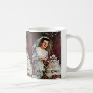 Vintage Wedding, Bride Cutting the Wedding Cake Coffee Mug