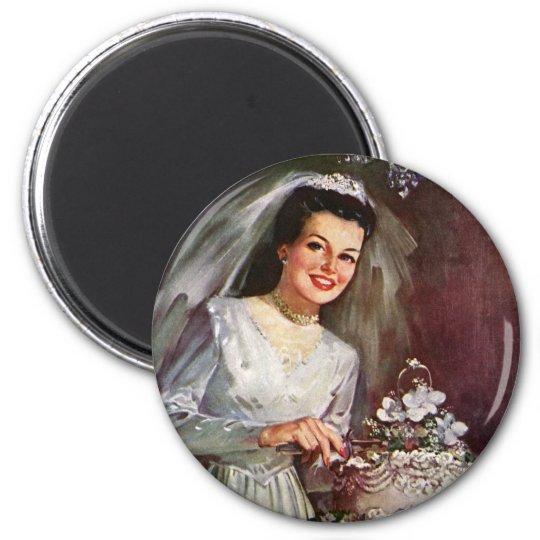 Vintage Wedding, Bride Cutting the Wedding Cake Magnet