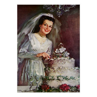 Vintage Wedding, Bride Cutting the Wedding Cake Poster