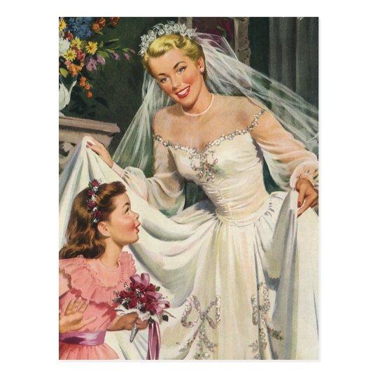 Vintage Wedding, Bride Flower Girl Save the Date Postcard