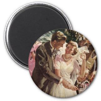 Vintage Wedding Bride Groom Newlyweds Cut Cake 2 Inch Round Magnet