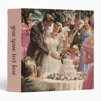 Vintage Wedding Bride Groom Newlyweds Cut Cake Vinyl Binder