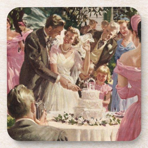 Vintage Wedding Bride Groom Newlyweds Cut Cake Drink Coasters