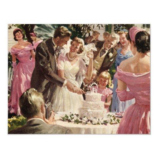 Vintage Wedding Bride Groom Newlyweds Cut Cake Personalized Invite