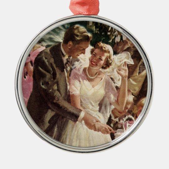 Vintage Wedding Bride Groom Newlyweds Cut Cake Metal Ornament