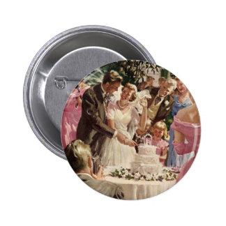 Vintage Wedding Bride Groom Newlyweds Cut Cake Pinback Button